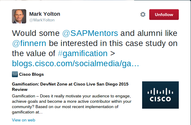 Mark Yolton Tweet Calling out SAP Mentors and me to analyse Cisco Gamification results