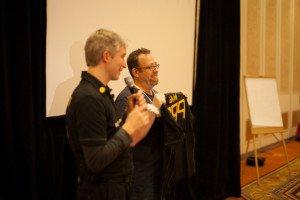 Yarif Zur receiving his SAP Mentor shirt. Picture by Ali Samieivafa